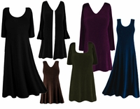FINAL CLEARANCE SALE! Plus Size Solid Slinky Dresses Shirts Tops Jackets & Pants! XL 0x 1x 2x Black Navy Red Pink White