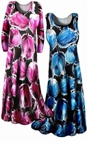 SOLD OUT!!!! Pretty Black  & Pink  or Black & Blue Slinky Floral Print  Plus Size & Supersize  Princess Cut Dress Shirt or Skirt