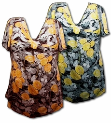 SOLD OUT!!! Pretty Black-Yellow or Brown-Orange Slinky Floral Print Plus Size Tops! 4x 5x 6x