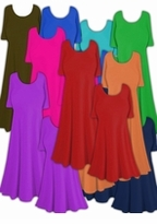 CLEARANCE! Princess Cut or A-Line Solid Slinky & Spandex Plus Size & Supersize Dresses, Tops & Tanks! Many Colors! XL 0x 1x 2x 3x 4x