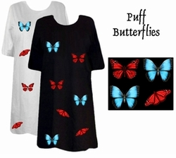 SOLD OUT! Puffy Blue & Red Butterflies Plus Size & Supersize T-Shirts 6x