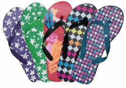 SOLD OUT! FINAL SALE! Retro Stellar Style Purple Green Red and Multi Colored Flip Flops  5/6 7/8