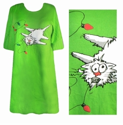 SOLD OUT! FINAL SALE!! Shocking! Xmas Kitty! Plus Size T-Shirts Green or Orange! 2x 5x