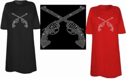 SOLD OUT! FINAL SALE! Sparkly Rhinestud Rhinestone Silver Guns Plus Size & Supersize T-Shirts M