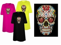 SOLD OUT! FINAL SALE! Sugar Skull With Cross Day Of The Dead Plus Size & Supersize T-Shirts 1x