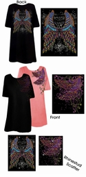 FINAL SALE! Tattoo Prints!  Peacock Feather Wings Plus Size T-Shirts Lg