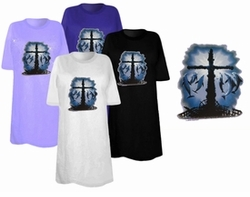 SOLD OUT! The Gathering Cross & Dolphins  Plus Size & Supersize T-Shirts 3xl