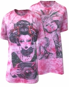 CLEARANCE! Fuschia Hot Pink Tie Dye Aztec Girl or Geisha Girl Rock Burnout Print Plus Size T-Shirt  XL