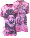 SOLD OUT! CLEARANCE! Fuschia Hot Pink Tie Dye Aztec Girl or Geisha Girl Rock Burnout Print Plus Size T-Shirt  XL
