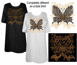 SOLD OUT! FINAL SALE! White Pink or Black Hot! Tattoo Prints!  Leopard Butterfly Plus Size T-Shirts 6x