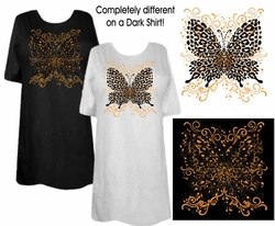 FINAL SALE! White Pink or Black Hot! Tattoo Prints!  Leopard Butterfly Plus Size T-Shirts 6x