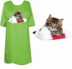 SOLD OUT! Kitten on Santa's Hat! Plus Size & Supersize T-Shirts 6x