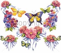 SALE! Floral Butterfly Neckline & Corners Plus Size & Supersize T-Shirts  S M L XL 2x 3x 4x 5x 6x 7x 8x (All Colors)