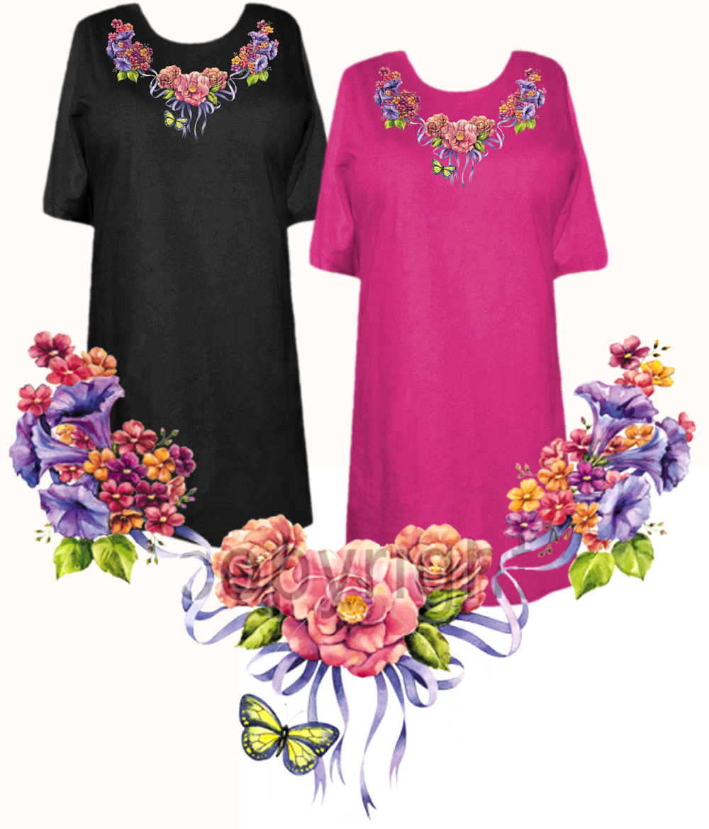 Sale Floral Butterfly Neckline Plus Size Supersize T