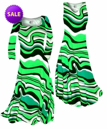 SOLD OUT! CLEARANCE! Fresh Green Swirls Slinky Print Plus Size & Supersize Standard A-Line Dress 2x
