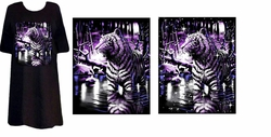 SOLD OUT! FINAL SALE! Just Reduced! Black Shimmering Tiger in Lake Plus Size & Supersize T-Shirts 4x