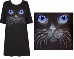 SOLD OUT! Blue Eyed Cat & Whiskers Plus Size & Supersize T-Shirts