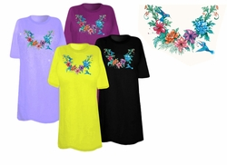 SOLD OUT! SALE! Just Reduced! Pretty Floral Hummingbird Neckline Plus Size & Supersize T-Shirts 3xl