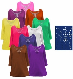 FINAL CLEARANCE SALE! Solid Color Rhinestone Neckline Plus Size & Supersize Poly/Cotton Jersey Knit T-Shirt Tops  3x