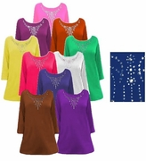 SOLD OUT! SALE! Solid Color Rhinestone Neckline Plus Size & Supersize T-Shirt Tops 1x