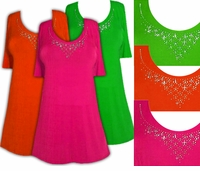 CLEARANCE! Just Reduced! Sparkly Orange - Green or Pink & Silver Rhinestone Neckline Plus Size Slinky Shirt 0x 4x 5x 6x
