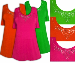 FINAL CLEARANCE SALE! Just Reduced! Sparkly Orange - Green or Pink & Silver Rhinestone Neckline Plus Size Slinky Shirt 0x