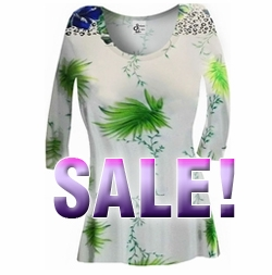 SOLD OUT! FINAL SALE! White & Green Floral Yummy Slinky Plus Size & Supersize A-Line Shirt 1x