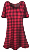 SOLD OUT! SALE!  Fuschia Pink & Black Plaid Print  Plus Size & Supersize A-Line T-Shirts 4x 6x