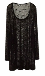 SOLD OUT! Glittery Black & Silver Spider Web Shirt - Plus Size & SuperSize - Halloween Costume