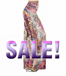SOLD OUT! SALE! Gold Shiny Metallic Lines Over Pink Multicolor Print Slinky Plus Size Palazzo Pants 2x Tall