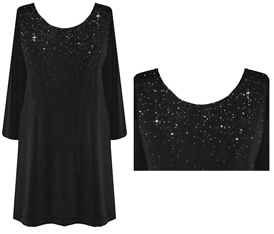 b9719988909b1 Customizable Starry Night Plus Size TOPS   DRESSES Sparkly Silver Rhinestuds   br Lg XL 0x 1x 2x 3x 4x 5x 6x 7x 8x 9x