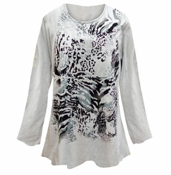 NEW! Gray Animal Print Long Sleeve Plus Size T-Shirt 5x