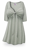 CLEARANCE! Plus Size Gray with Silver Glimmer Tie Babydoll Shirt 2x