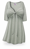 FINAL CLEARANCE SALE! Plus Size Gray with Silver Glimmer Tie Babydoll Shirt 2x