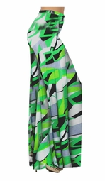 SOLD OUT! Green Abstract Geometric Slinky Print Special Order Customizable Plus Size & Supersize Pants, Capri's, Palazzos or Skirts! Lg to 9x