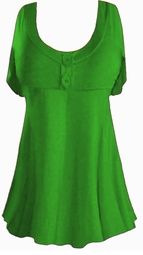 SALE! Plus Size Green Poly/Cotton Mock Button Babydoll Short Sleeve Tops 1x 2x 3x 4x 5x 6x 7x 8x