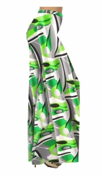 SOLD OUT!! Green Gray & Black Geometric Slinky Print Special Order Customizable Plus Size & Supersize Pants, Capri's, Palazzos or Skirts! Lg to 9x