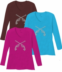 SALE! Sparkly Rhinestud Silver Guns V Neck/Round Neck Long Sleeve Plus Size Shirt 5x White Teal Raspberry Brown