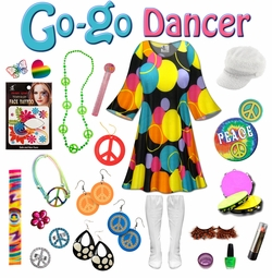 SALE! Double Bubble Print Plus Size Go-go Dancer Costume Kit Lg XL 0x 1x 2x 3x 4x 5x 6x 7x 8x 9x