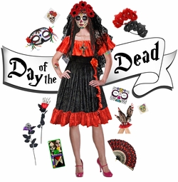 NEW! Sexy Day of the Dead - Dia de los Muertos Plus Size Halloween Costume Dress & Accessory Kits XL 1x 2x 3x 4x 5x 6x 7x 8x