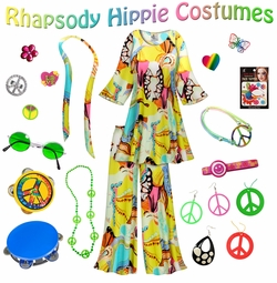 SALE! Rhapsody Print Hippie 2PC Set - 60's Style Retro Plus Size & Supersize Halloween Costume Kit Lg XL 0x 1x 2x 3x 4x 5x 6x 7x 8x 9x