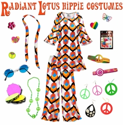 SALE! Radiant Lotus Print Hippie 2PC Set - 60's Style Retro Plus Size & Supersize Halloween Costume Kit Lg XL 0x 1x 2x 3x 4x 5x 6x 7x 8x 9x