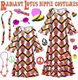 SALE! Radiant Lotus Print Hippie Dress - 60's Style Retro Plus Size & Supersize Halloween Costume Kit Lg XL 0x 1x 2x 3x 4x 5x 6x 7x 8x 9x