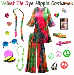 SALE! Crush Velvet Tie Dye Hippie 2PC Set - 60's Style Retro Plus Size & Supersize Halloween Costume Kit Lg XL 0x 1x 2x 3x 4x 5x 6x 7x 8x 9x