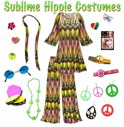 SALE! Sublime Print Hippie 2PC Set - 60's Style Retro Plus Size & Supersize Halloween Costume Kit Lg XL 0x 1x 2x 3x 4x 5x 6x 7x 8x 9x