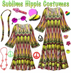 SALE! Sublime Print Hippie Dress - 60's Style Retro Plus Size & Supersize Halloween Costume Kit Lg XL 0x 1x 2x 3x 4x 5x 6x 7x 8x 9x
