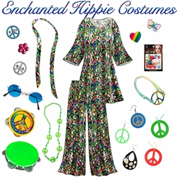 SALE! Enchanted Print Hippie 2PC Set - 60's Style Retro Plus Size & Supersize Halloween Costume Kit Lg XL 0x 1x 2x 3x 4x 5x 6x 7x 8x 9x