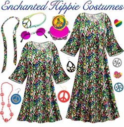 SALE! Enchanted Print Hippie Dress - 60's Style Retro Plus Size & Supersize Halloween Costume Kit Lg XL 0x 1x 2x 3x 4x 5x 6x 7x 8x 9x