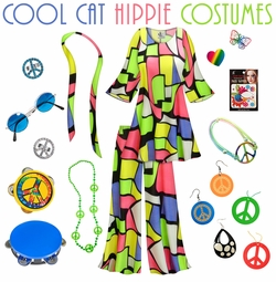 SALE! Cool Cat Print Hippie 2PC Set - 60's Style Retro Plus Size & Supersize Halloween Costume Kit Lg XL 0x 1x 2x 3x 4x 5x 6x 7x 8x 9x