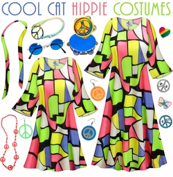 SOLD OUT! SALE! Cool Cat Print Hippie Dress - 60's Style Retro Plus Size & Supersize Halloween Costume Kit Lg XL 0x 1x 2x 3x 4x 5x 6x 7x 8x 9x
